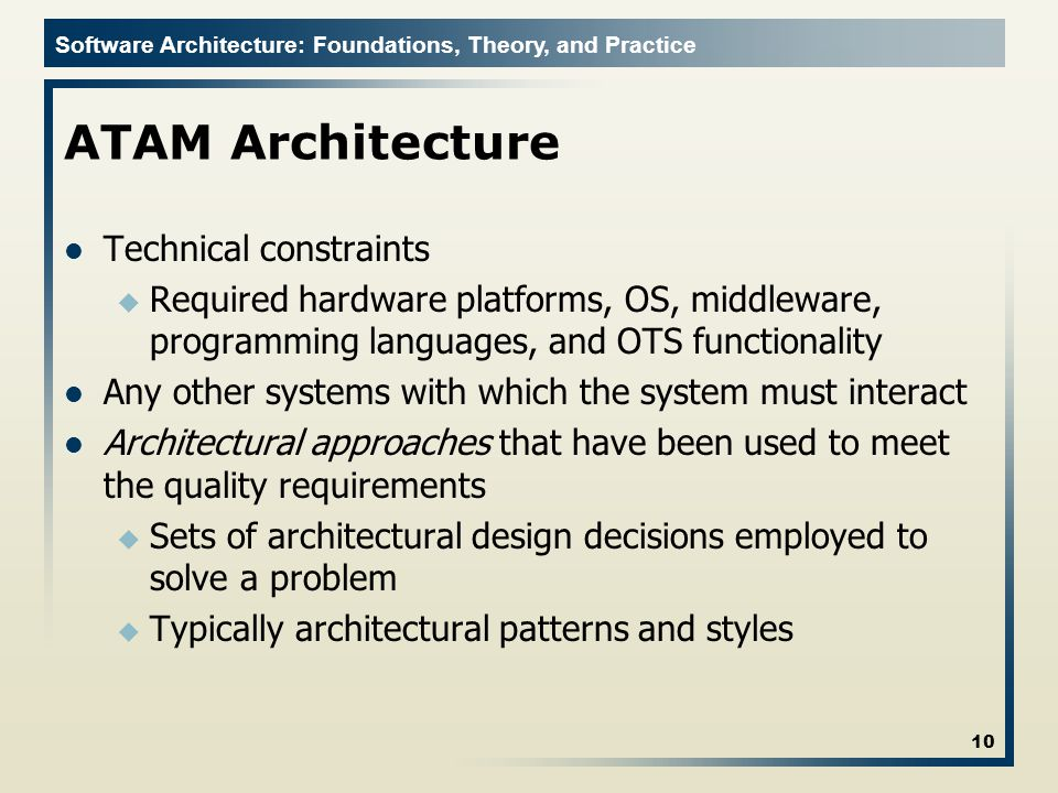 ATAM Architecture Technical constraints