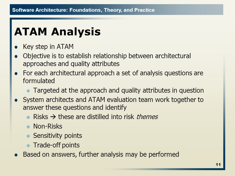 ATAM Analysis Key step in ATAM