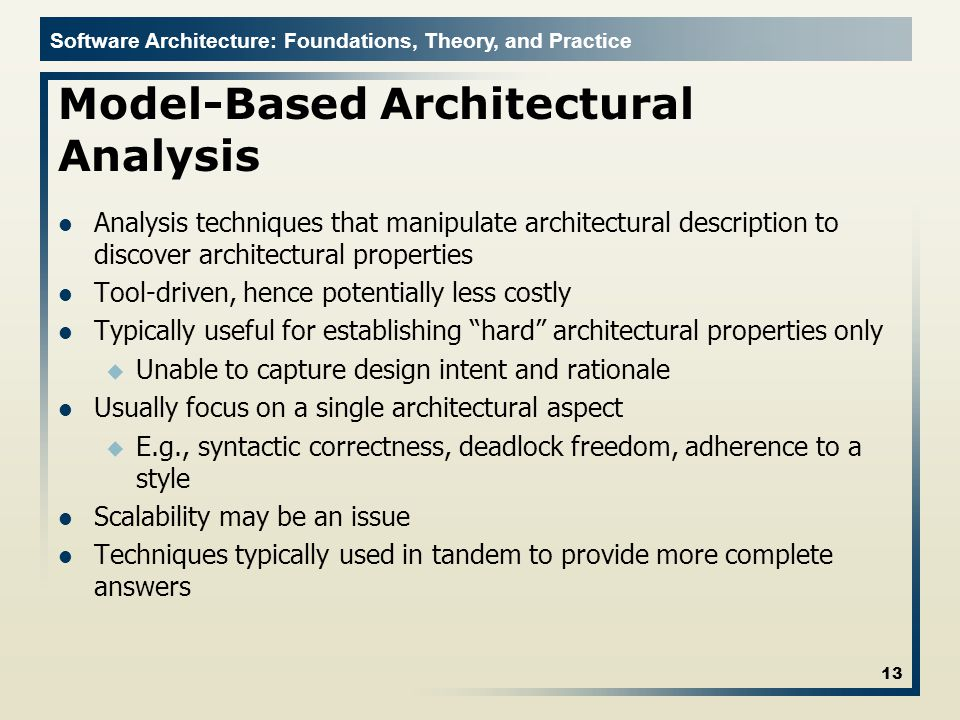 Model-Based Architectural Analysis