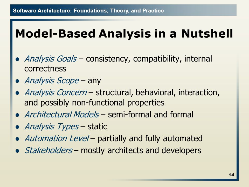 Model-Based Analysis in a Nutshell