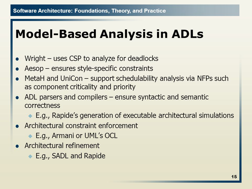 Model-Based Analysis in ADLs
