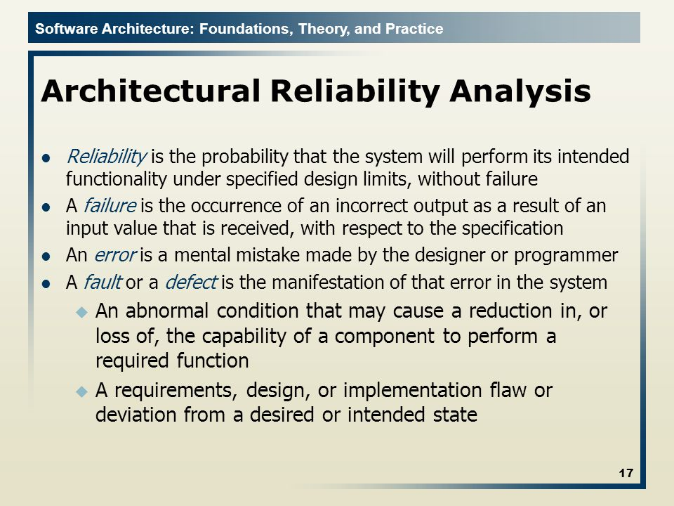 Architectural Reliability Analysis