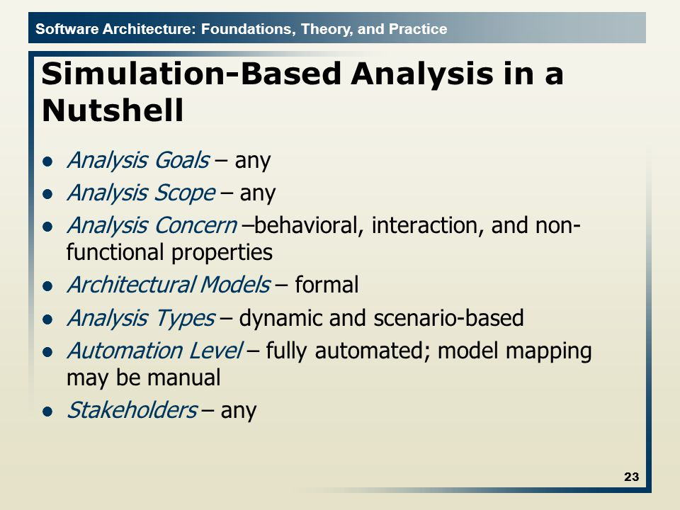 Simulation-Based Analysis in a Nutshell