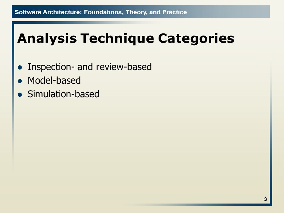 Analysis Technique Categories