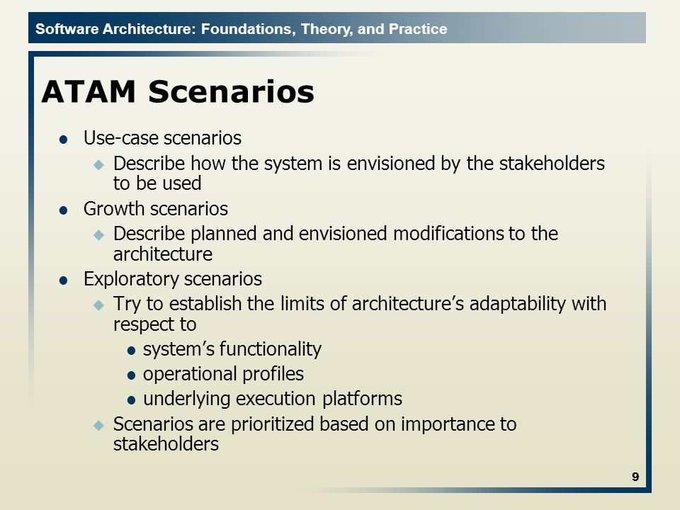 ATAM Scenarios Use-case scenarios
