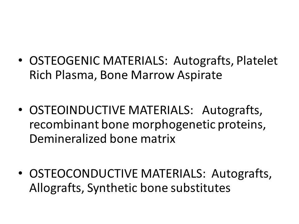 OSTEOGENIC MATERIALS: Autografts, Platelet Rich Plasma, Bone Marrow Aspirate