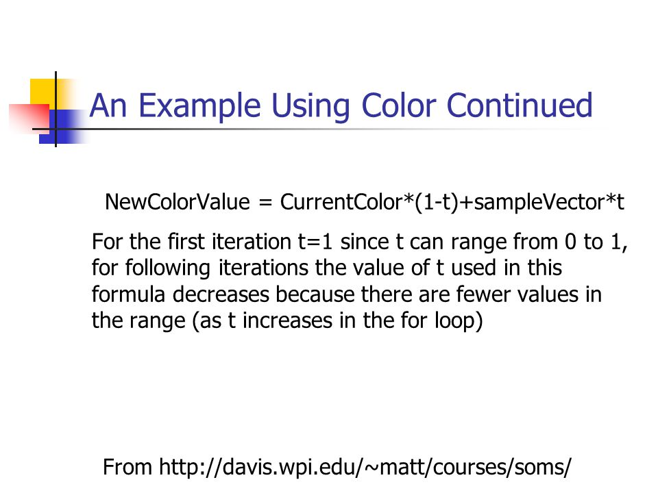 An Example Using Color Continued