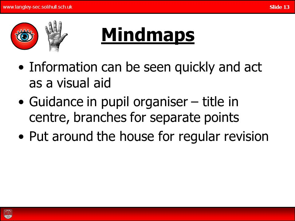Mindmaps Information can be seen quickly and act as a visual aid