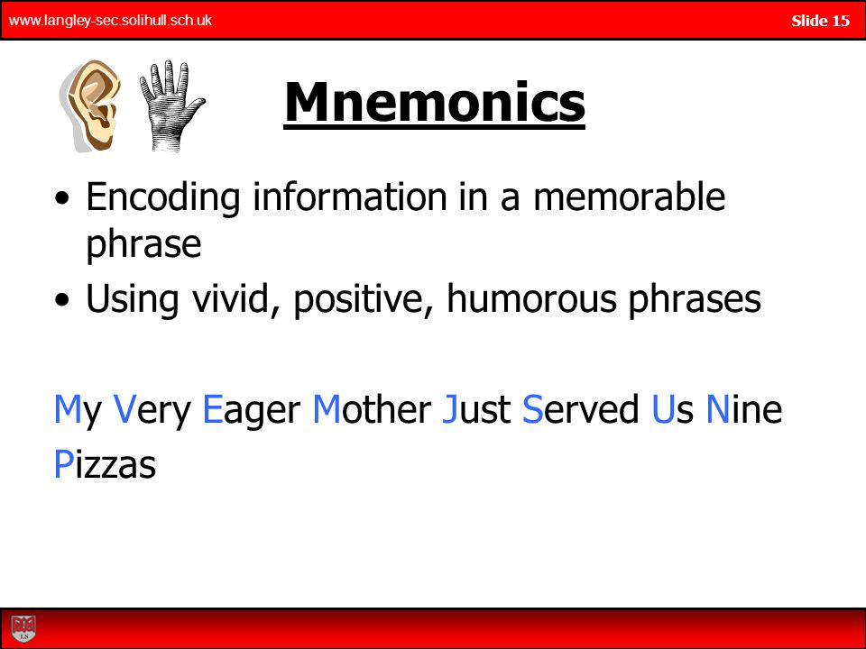 Mnemonics Encoding information in a memorable phrase