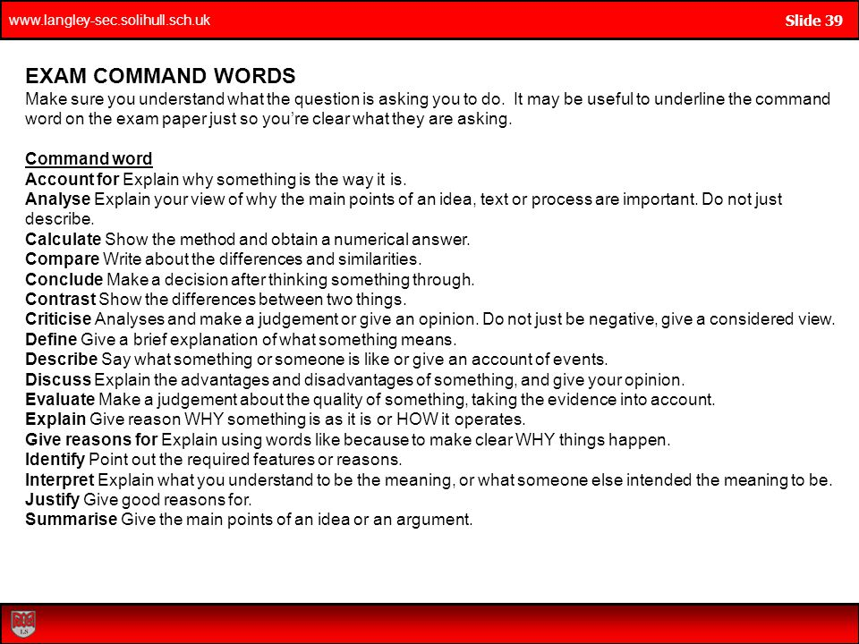 EXAM COMMAND WORDS