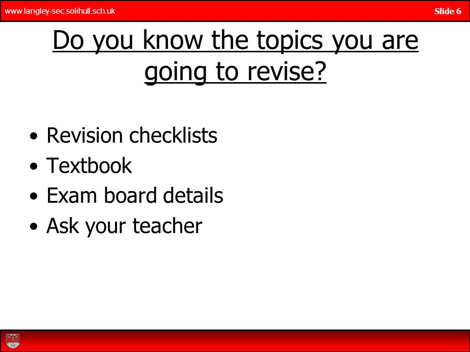 Do you know the topics you are going to revise