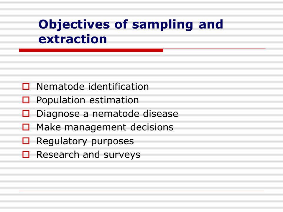 Objectives of sampling and extraction