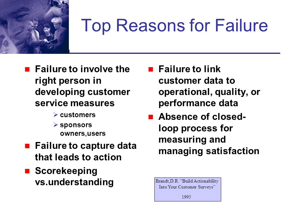 Top Reasons for Failure