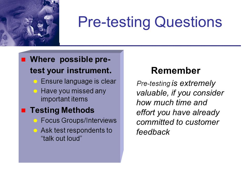 Pre-testing Questions