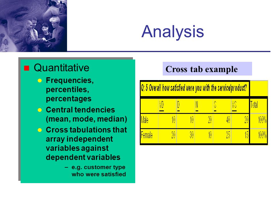 Analysis Quantitative Cross tab example