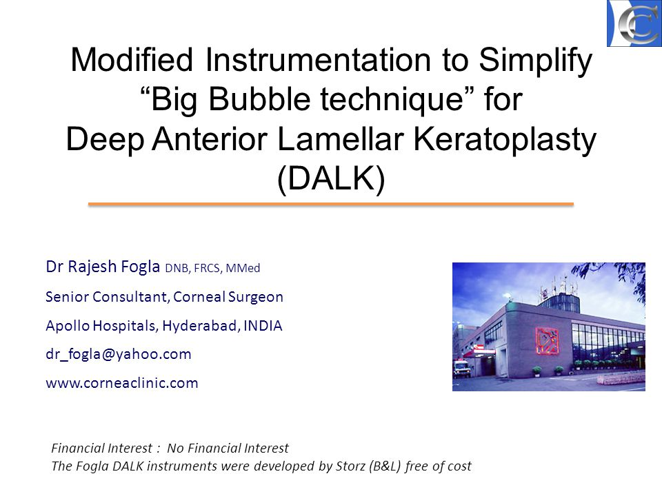 Modified Instrumentation to Simplify Big Bubble technique for Deep Anterior Lamellar Keratoplasty (DALK)