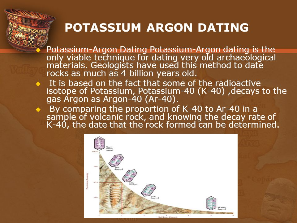 potassium argon dating technique First results in an extensive programme in potassium-argon dating at berkeley arc reported ultra-high-vacuum techniques have been incorporated in the argon.
