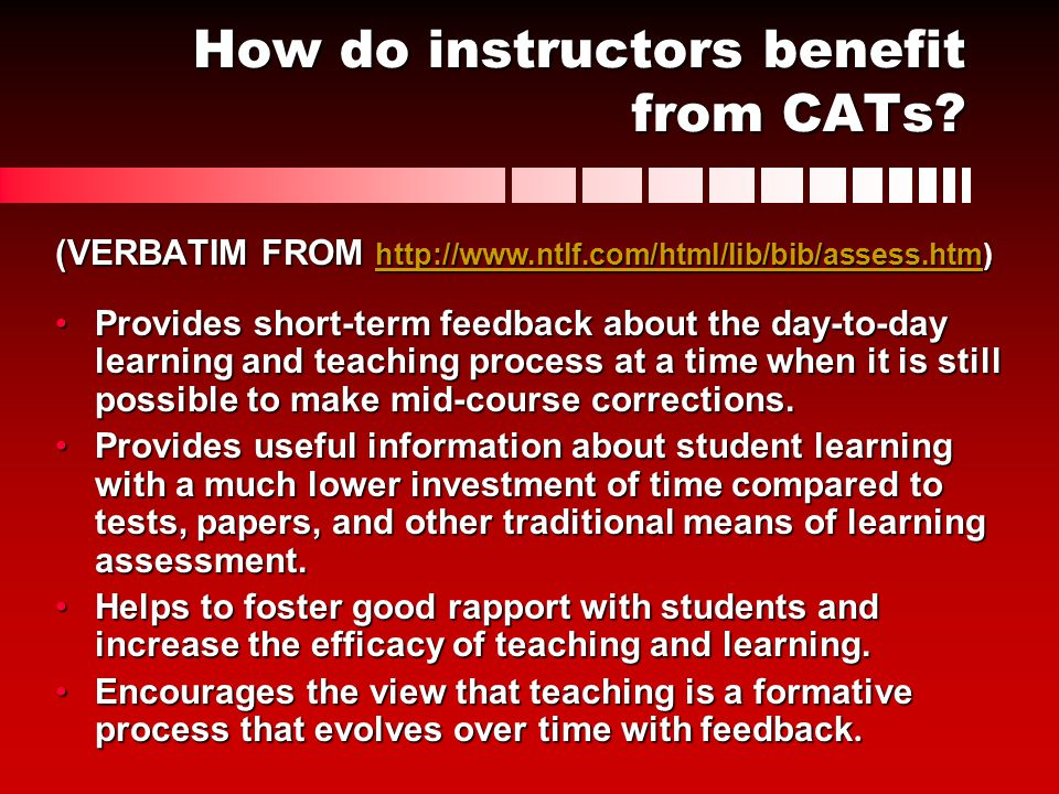 How do instructors benefit from CATs