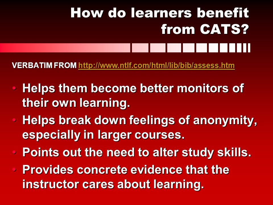 How do learners benefit from CATS