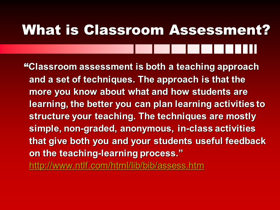 What is Classroom Assessment