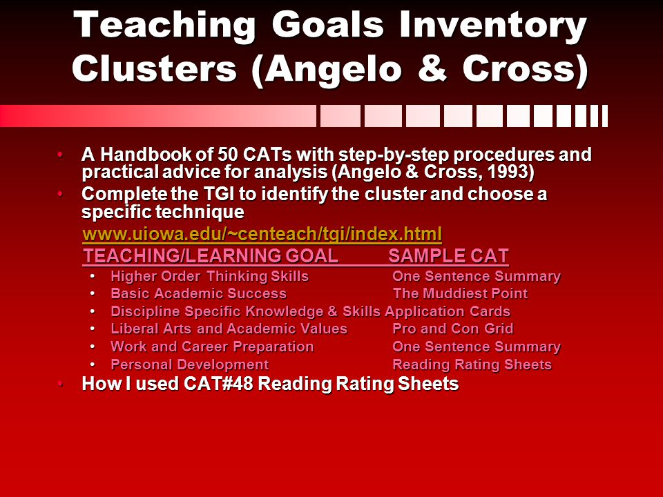 Teaching Goals Inventory Clusters (Angelo & Cross)