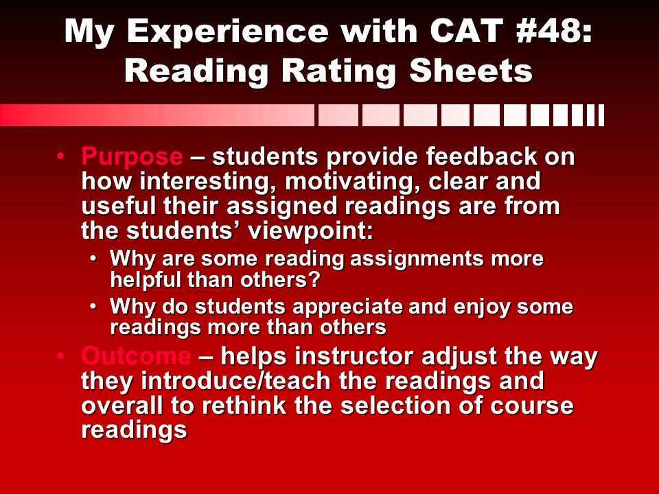 My Experience with CAT #48: Reading Rating Sheets
