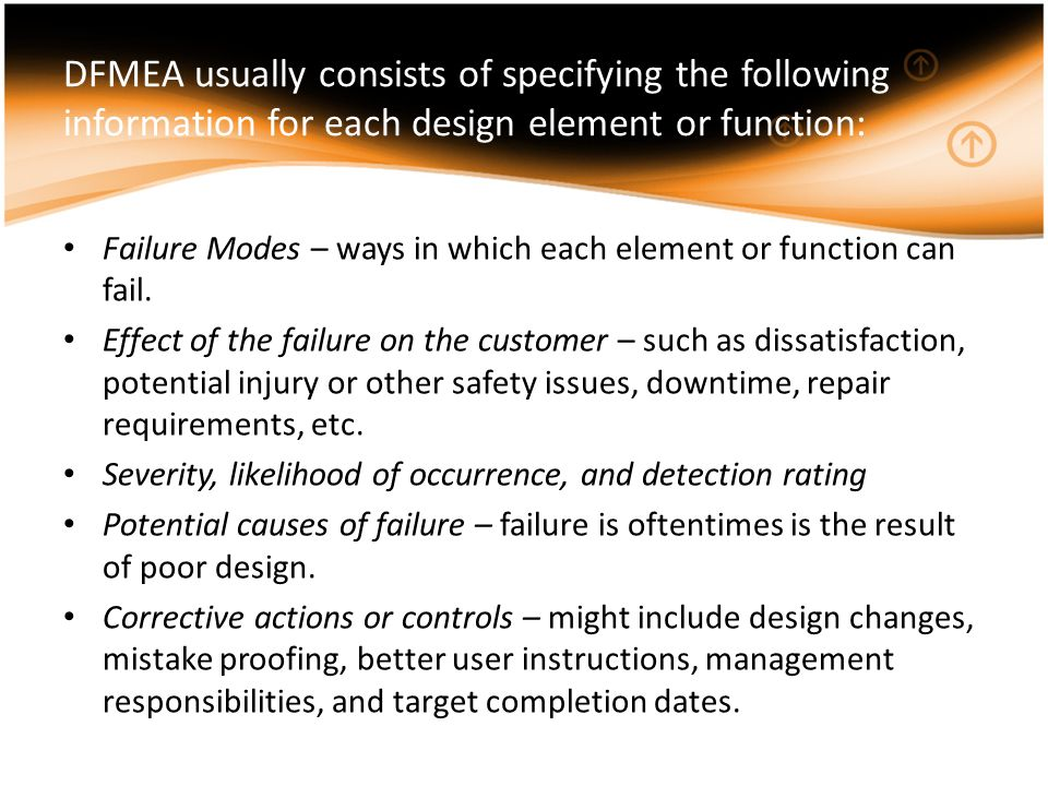 DFMEA usually consists of specifying the following information for each design element or function: