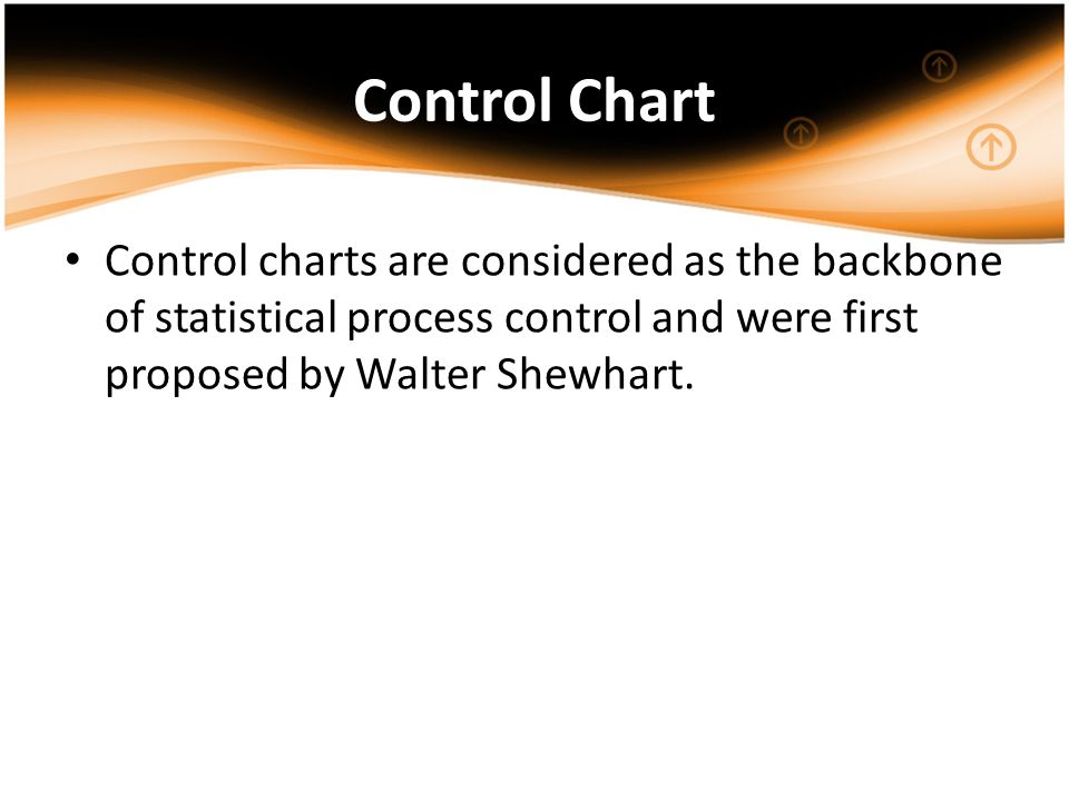 Control Chart Control charts are considered as the backbone of statistical process control and were first proposed by Walter Shewhart.