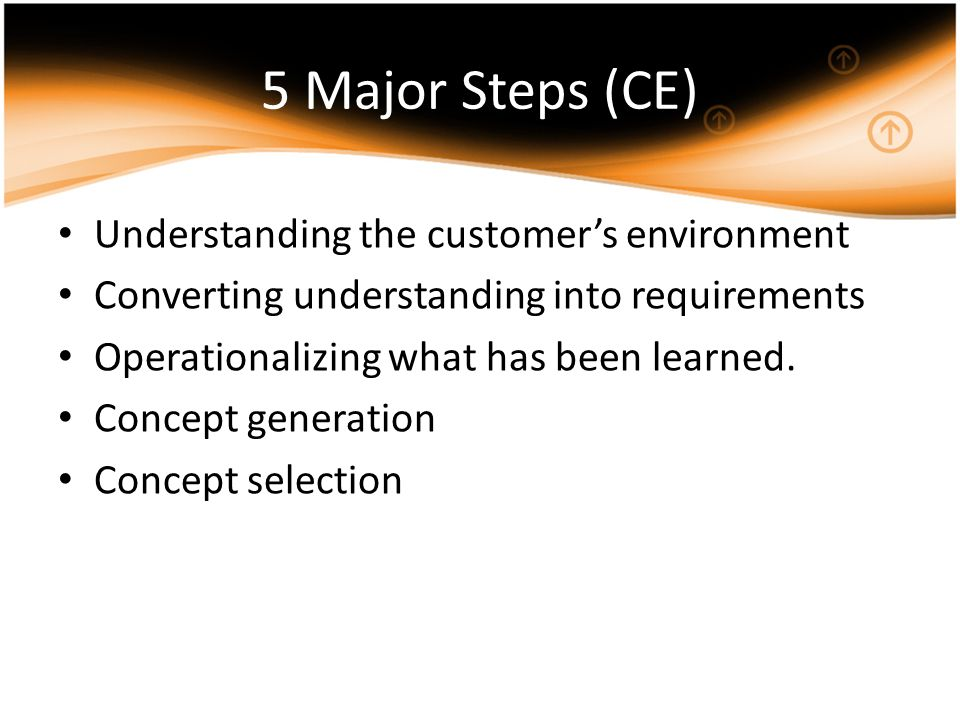 5 Major Steps (CE) Understanding the customer's environment