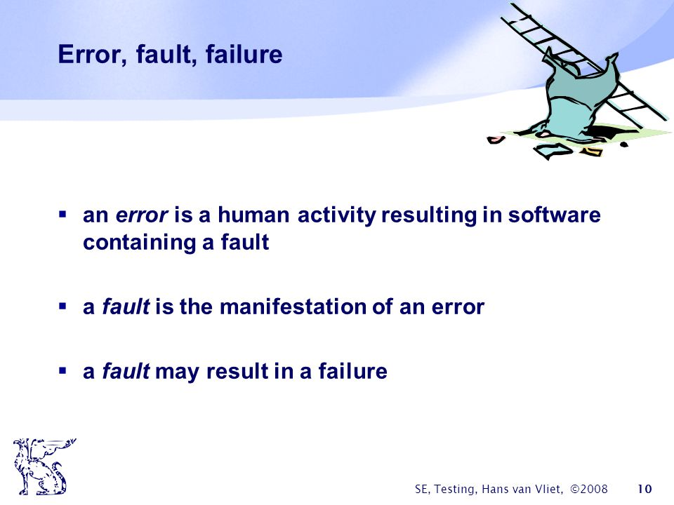 Error, fault, failure an error is a human activity resulting in software containing a fault. a fault is the manifestation of an error.