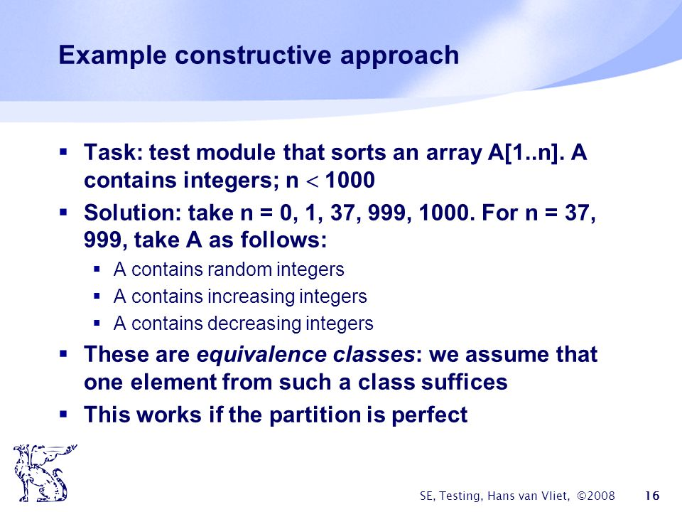 Example constructive approach