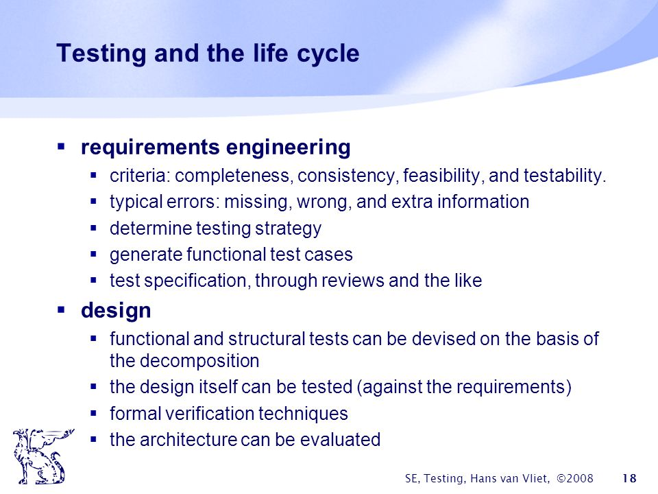 Testing and the life cycle