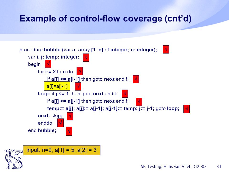 Example of control-flow coverage (cnt'd)