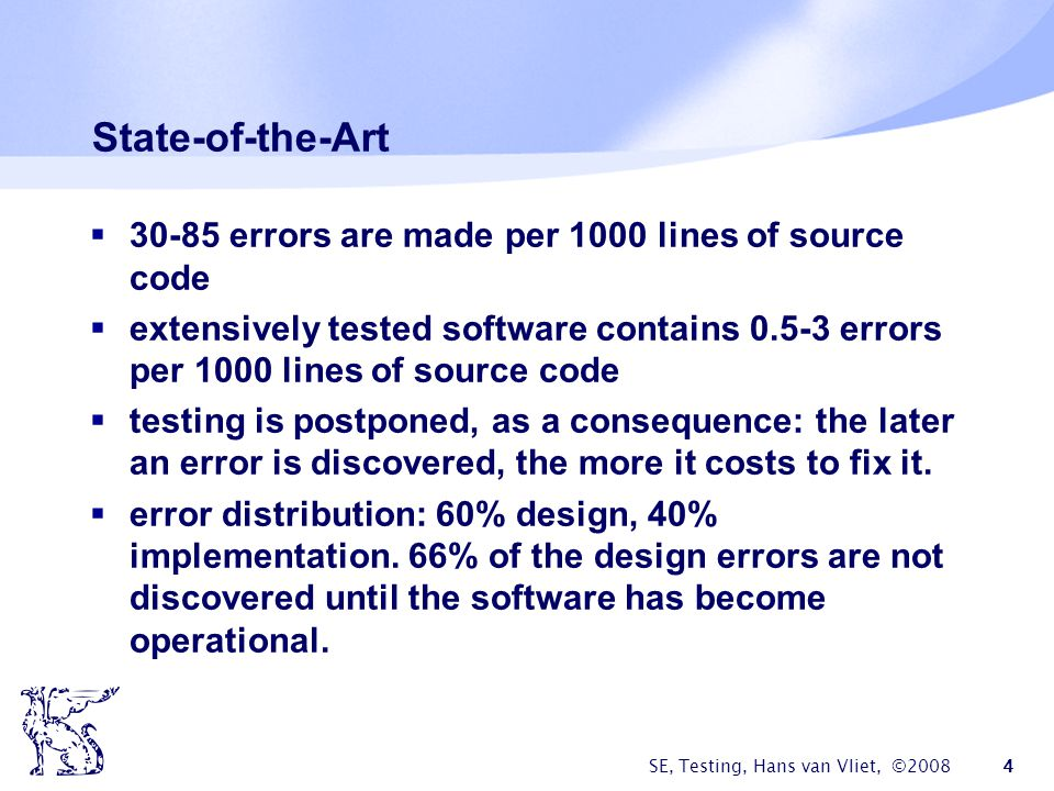 State-of-the-Art 30-85 errors are made per 1000 lines of source code