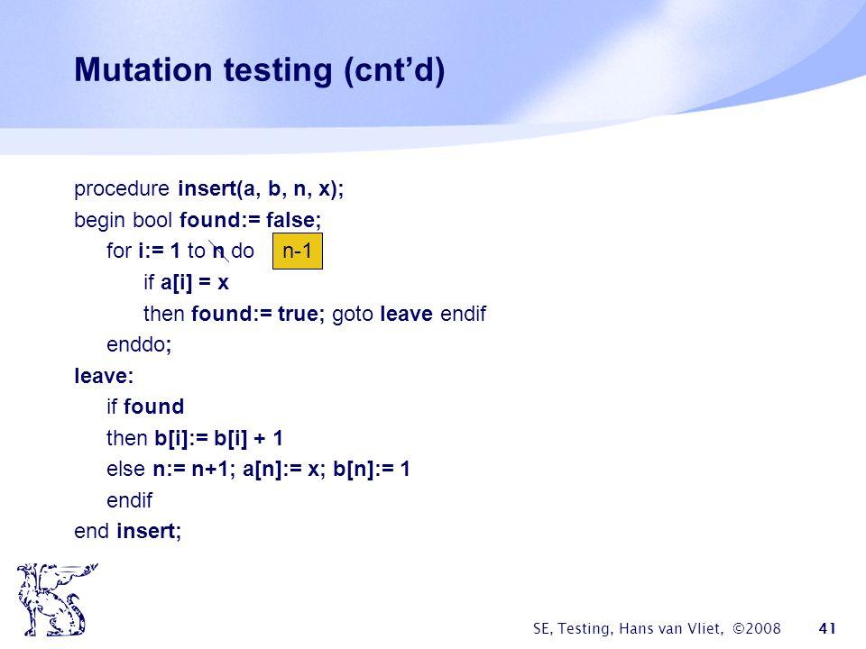 Mutation testing (cnt'd)