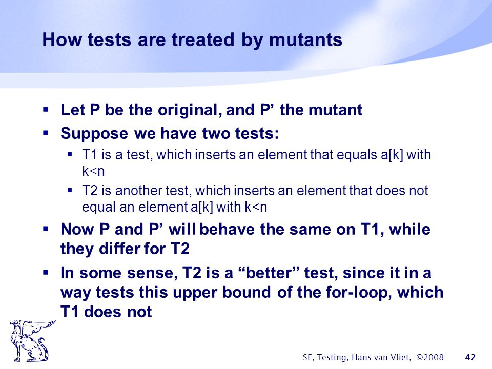 How tests are treated by mutants