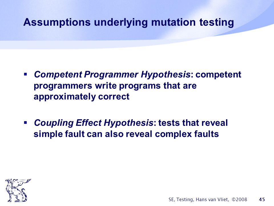 Assumptions underlying mutation testing