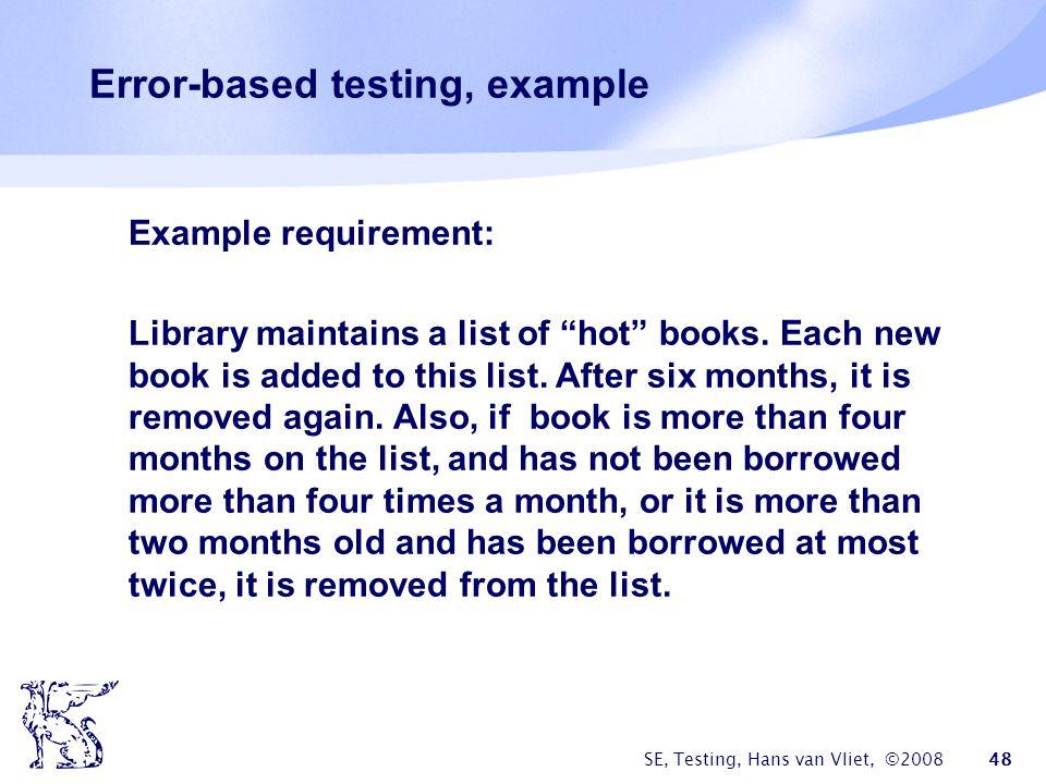 Error-based testing, example