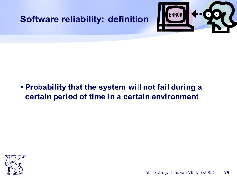 Software reliability: definition