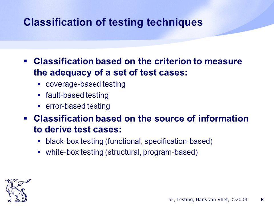 Classification of testing techniques