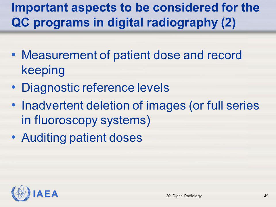 Measurement of patient dose and record keeping