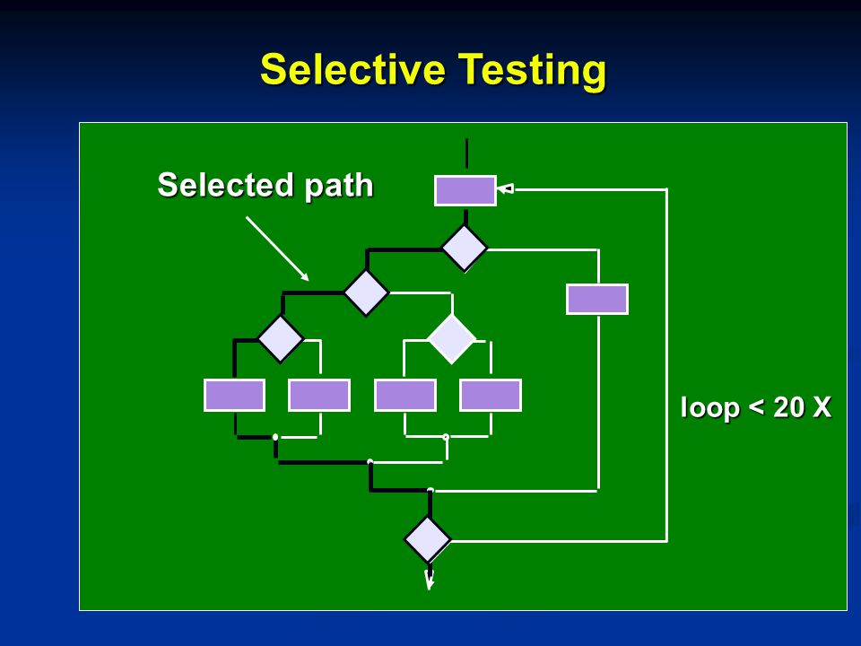 Selective Testing Selected path loop < 20 X