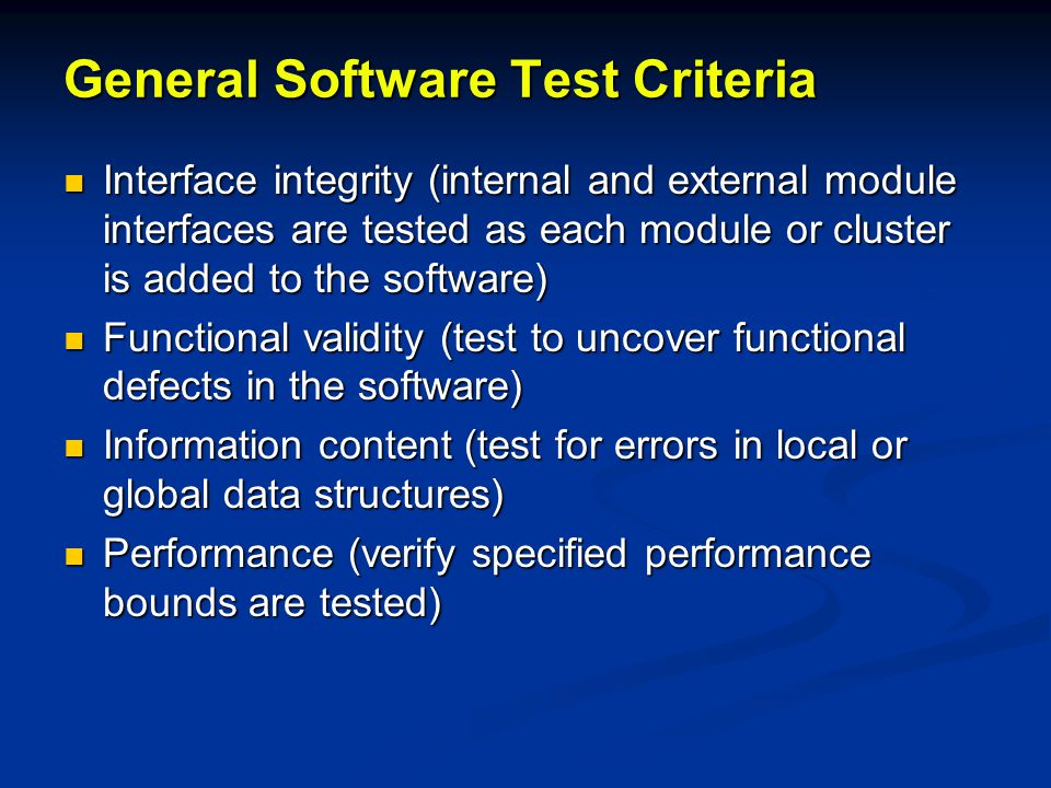 General Software Test Criteria