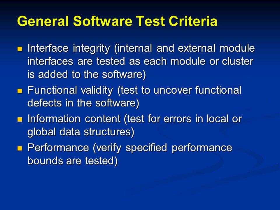 General Software Test Criteria