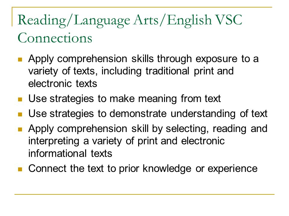 Reading/Language Arts/English VSC Connections
