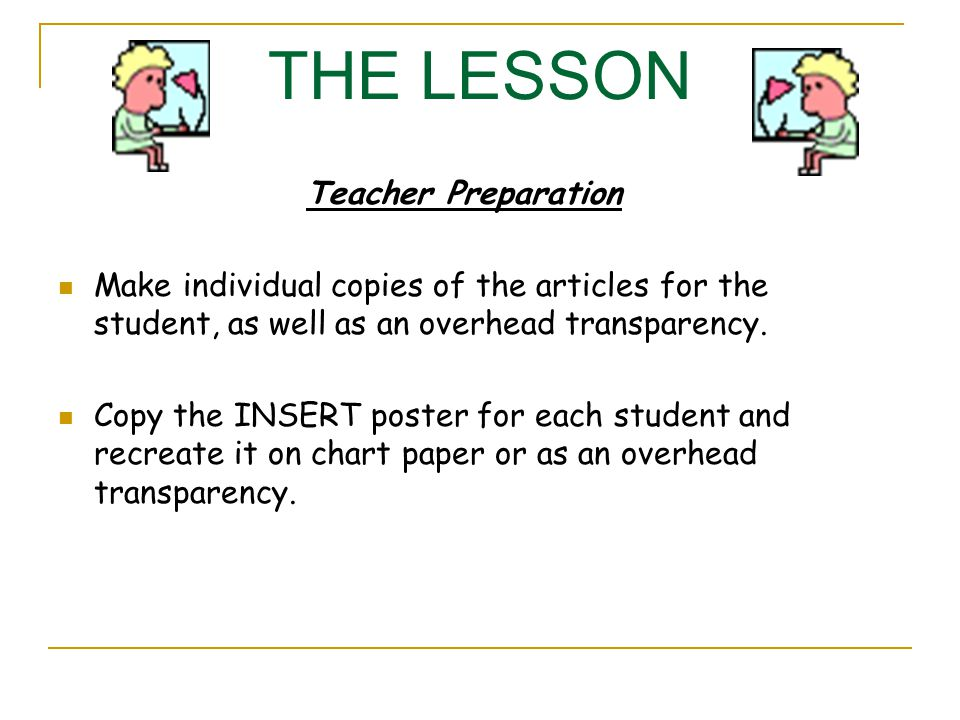 THE LESSON Teacher Preparation