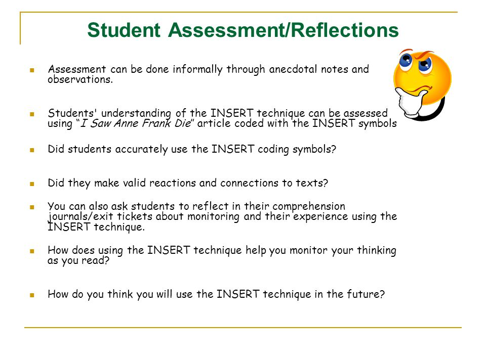 Student Assessment/Reflections