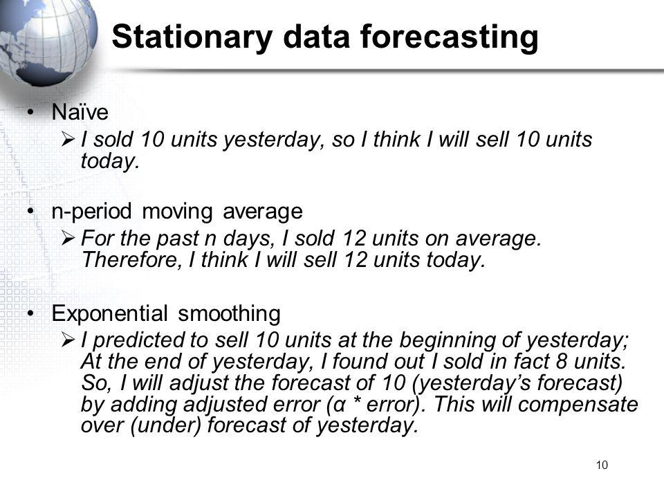 Stationary data forecasting