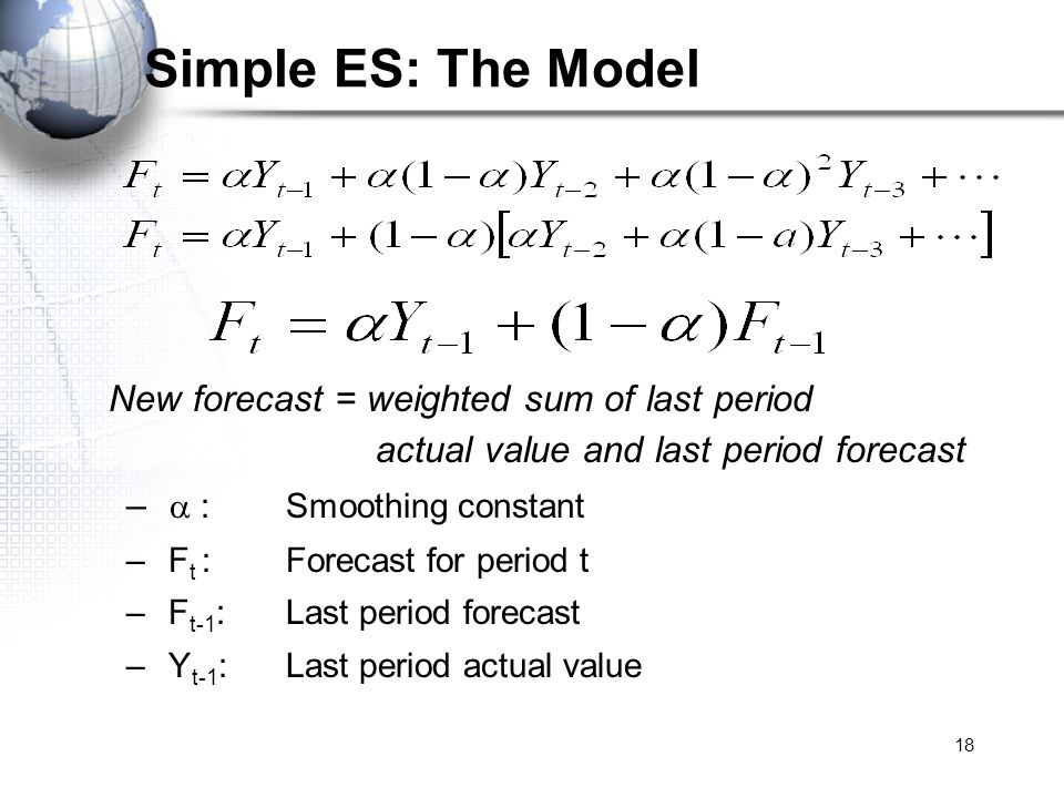 Simple ES: The Model New forecast = weighted sum of last period actual value and last period forecast.