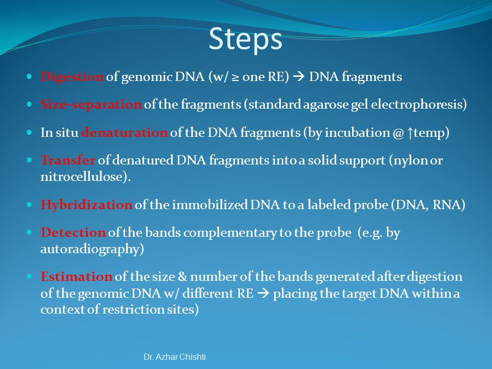 Steps Digestion of genomic DNA (w/ ≥ one RE)  DNA fragments